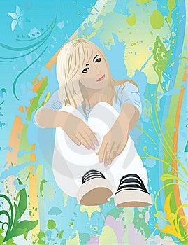 Sitting Girl Royalty Free Stock Image - Image: 21526566