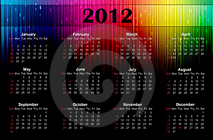 2012 Colorful Calendar Royalty Free Stock Photos - Image: 21549558