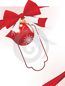 Christmas Ball With Bow And Tinsel. Festive Card Stock Image - Image: 21568481