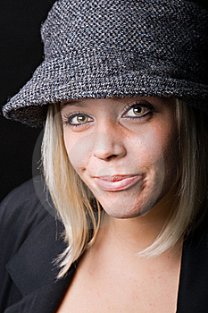 Beautiful Blonde Wearing Tweed Rain Hat Royalty Free Stock Photography - Image: 21576177