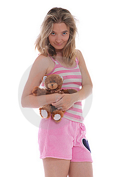 Smiling Woman Holding A Cute Teddy Bear Royalty Free Stock Image - Image: 21576436