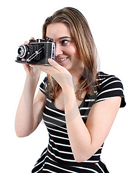 Woman Shooting A Vintage Camera Royalty Free Stock Image - Image: 21588326