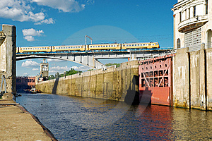 Floodgates On The Moscow Canal Royalty Free Stock Photography - Image: 21597327