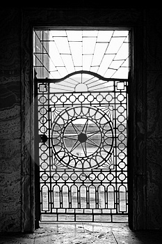 Backlit Metal Door - B&W Royalty Free Stock Photography - Image: 2167617