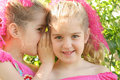 Stock Images - Twin sisters sharing a secret