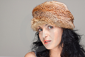 Mature Woman In Fur Hat Royalty Free Stock Photo - Image: 21610705