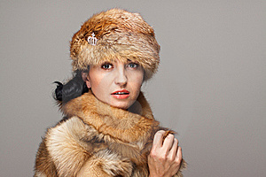 Attractive Woman In Fur Stock Photo - Image: 21611780