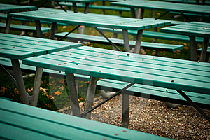 Many Green Picnic Tables Royalty Free Stock Photos - Image: 21614608