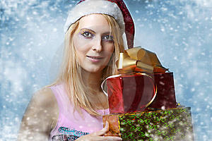Christmas Concept. Happy Woman With Gifts Stock Photography - Image: 21624762