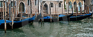 Lined-up Gondolas Royalty Free Stock Photography - Image: 21629557
