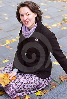 Lovely Smiling Woman With Autumn Leaves  Stock Images - Image: 21649974
