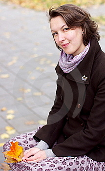 Lovely Woman With Autumn Leaves Royalty Free Stock Photo - Image: 21649975