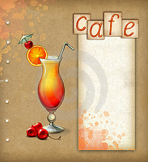 Background With Illustration Of Cocktail Stock Images - Image: 21666744