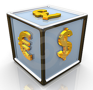 3d Currencies Symbols Signs Cube Stock Photo - Image: 21667330