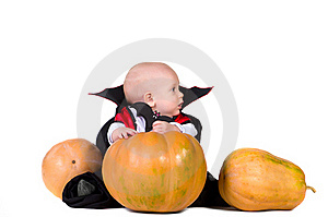 Halloween Baby Boy With Pumpking 1 Royalty Free Stock Photo - Image: 21675325