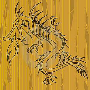Dragon On Wood With Copy Space Royalty Free Stock Photos - Image: 21693018