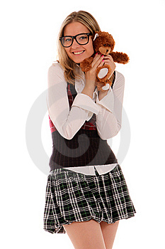 Young Woman Holding Teddy Bear Stock Image - Image: 21696081