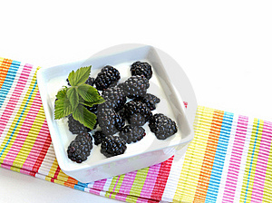 Blackberries On Yogurt Royalty Free Stock Image - Image: 21696206