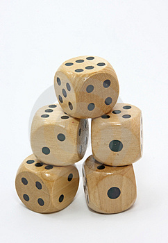 Five Wooden Gambling Dices Royalty Free Stock Photo - Image: 2172115