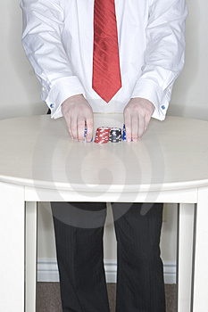 Man Holding Gambling Chips Stock Images - Image: 2176204