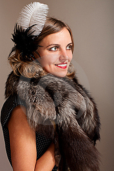 Retro Woman With Feather And Fur Stock Images - Image: 21703634