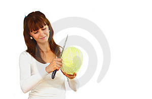 Woman With Cabbage Stock Photo - Image: 21703880