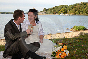 Newlyweds Drinking Wine Outdoor Stock Photos - Image: 21706163