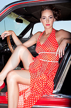 Model In Red Polka-dot Dress Royalty Free Stock Photo - Image: 21717205
