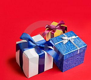 Three Boxes With Gifts Stock Photo - Image: 21719760