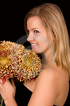 Image Of A Young Woman With Yellow Chrysanthemums Stock Images - Image: 21720964