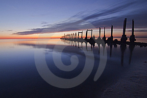 Old Pier At Sunset Royalty Free Stock Images - Image: 21733989
