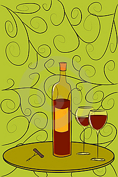 Bottle Of Wine Postcard Royalty Free Stock Photo - Image: 21744635