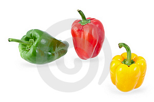 Yellow, Green And Red Peppers Stock Photography - Image: 21750082