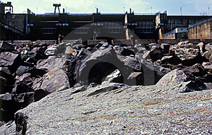 Water Dam And Dried Rocks Royalty Free Stock Photography - Image: 21753867