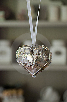 White Ribbon With A Iron Heart With Stars Stock Photos - Image: 21762263