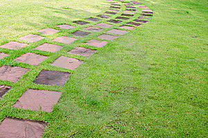 Stone Walkway Line In The Garden Stock Photography - Image: 21774492