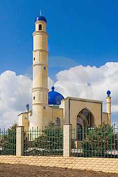 Muslim Mosque On Blue Sky Royalty Free Stock Photography - Image: 21777457