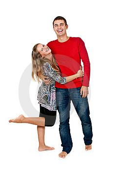 Loving Couple Embracing In Studio Stock Photography - Image: 21787412