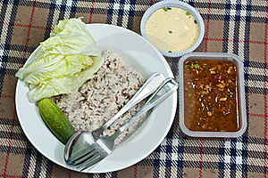 Chili Sauce And  Vegetable With Brown Rice Stock Photography - Image: 21787772