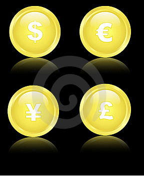 Golden Financial Icons Royalty Free Stock Images - Image: 21791179