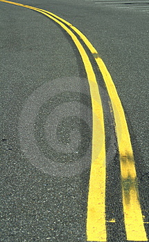 Double yellow line Royalty Free Stock Photos