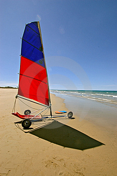 Beach sailing yacht Stock Photo