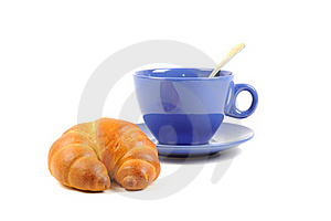 Blue Cup With Tea And Croissant Stock Photos - Image: 21804433
