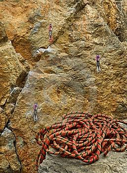 Climbing Rope And Rock Stock Photos - Image: 21811173