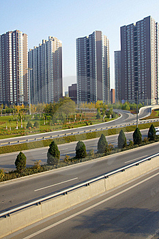 Highway And Residential Buildings Royalty Free Stock Images - Image: 21811179