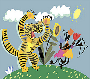 Tiger And Indians Royalty Free Stock Photo - Image: 21825285