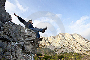 Man On Top Of The Mountain Stock Photography - Image: 21856432