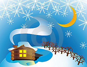 Winter Cottage Stock Photo - Image: 21864740