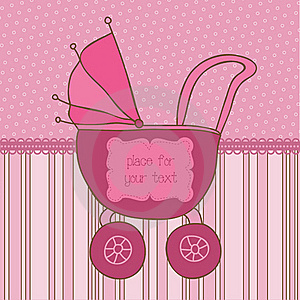 Baby Girl Arrival Card With Photo Frame Stock Photo - Image: 21870380