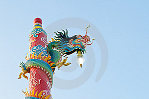 Dragon Statue At Chinese Shrine ,Thailand Royalty Free Stock Photography - Image: 21882677